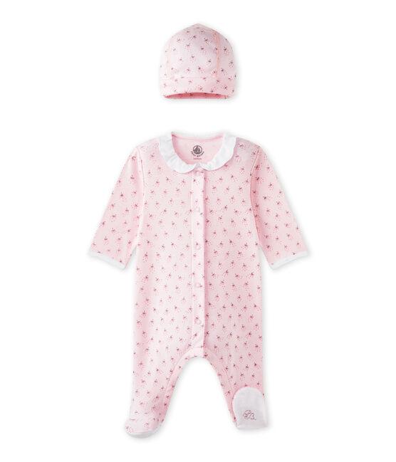 Tutina per bebé femmina e cappellino nascita rosa Vienne / bianco Multico