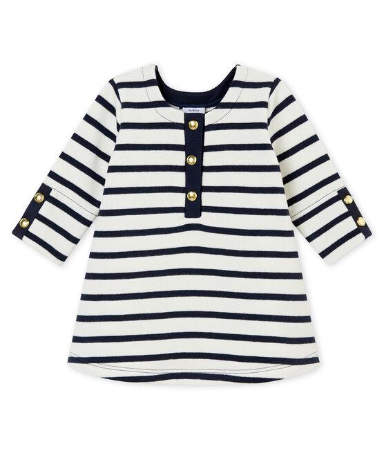 Abito iconico per bebé femmina bianco Marshmallow / blu Smoking