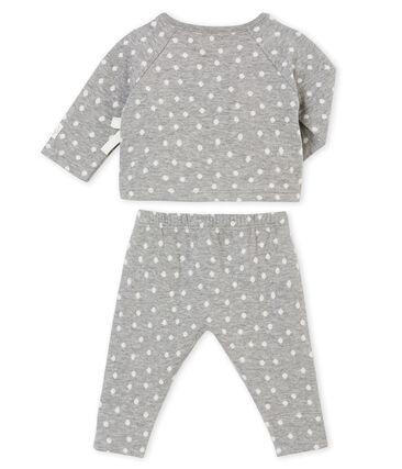Coordinato per bebé femmina in tubique jacquard grigio Subway / bianco Multico