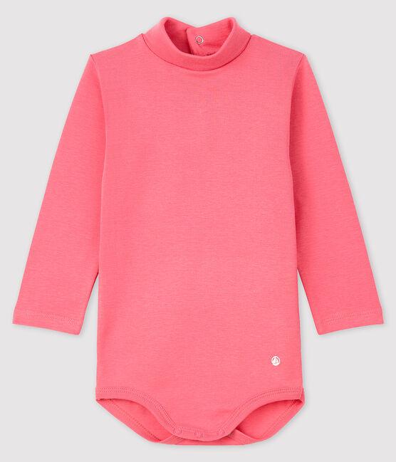 Body manica lunga e dolcevita bebè rosa Cheek