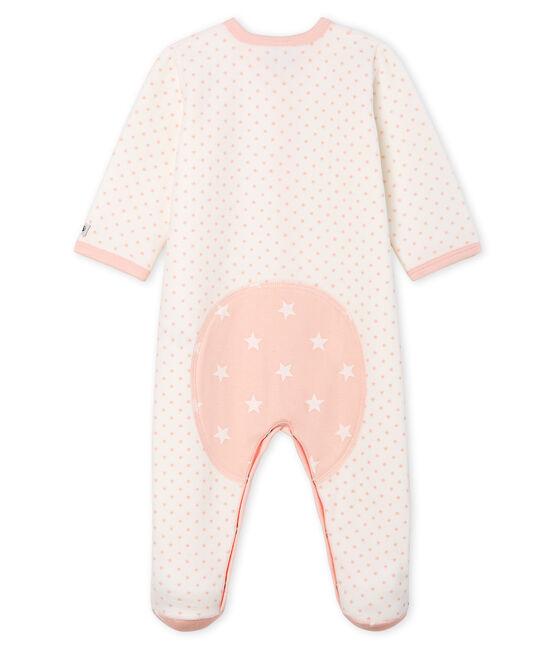 Tutina bebé femmina in ciniglia bianco Marshmallow / rosa Minois