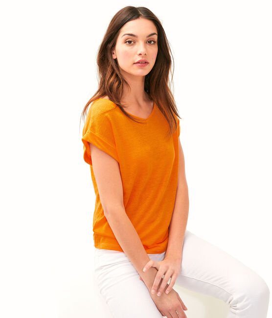 T-shirt in lino donna arancione Tiger
