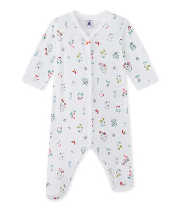Tutina bebè bambina stampata bianco Ecume / bianco Multico