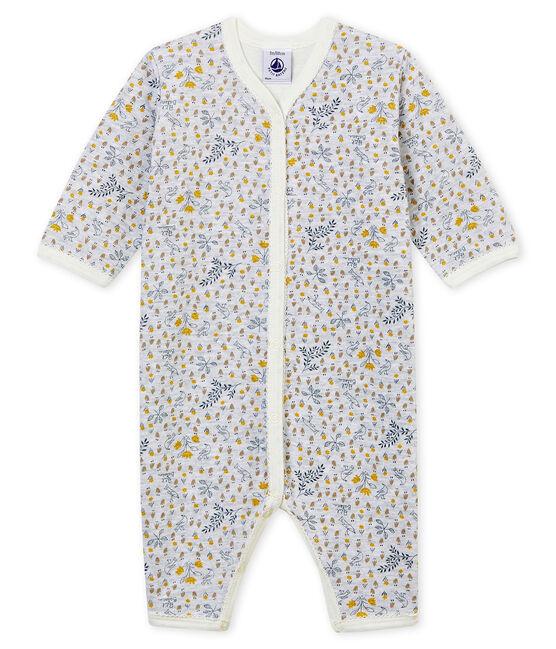 Tutina pigiama senza piedi in costina da neonata grigio Poussiere / bianco Multico