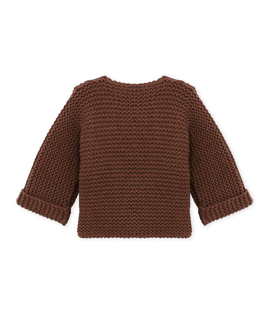 Cardigan per bebè in misto lana e cotone marrone Brown