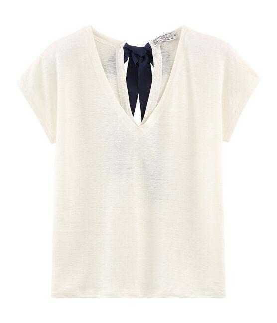 T-shirt in lino donna bianco Marshmallow