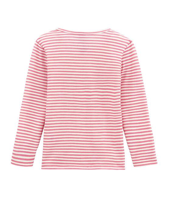tee-shirta maniche lunghe bambina in lana e cotone rosa Cheek / bianco Marshmallow