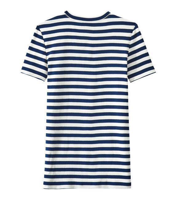 T-shirt donna in costina originale 1x1 rigata blu Medieval / bianco Marshmallow