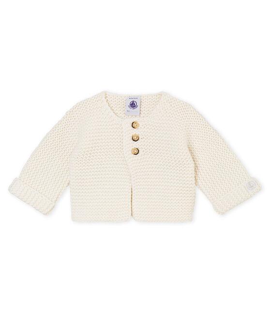 Cardigan punto legaccio per bebé unisex bianco Marshmallow