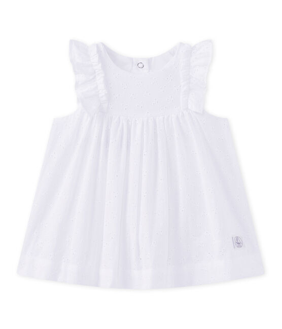 Abito per bebé femmina in sangallo bianco Ecume