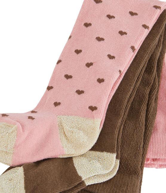 Confezione da 2 paia di collant bebè femmina rosa Charme / bianco Multico