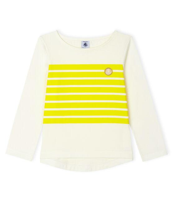 T-shirt bambina bianco Marshmallow / giallo Eblouis