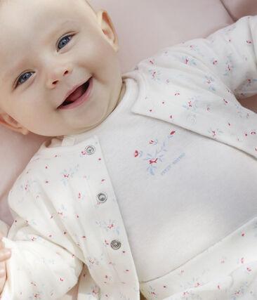 Completo 3 pezzi bebè unisex in tubique bianco Marshmallow / bianco Multico