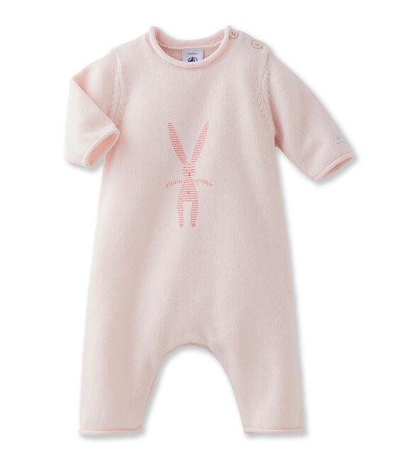 Tutina lunga bebé unisex in lana e cotone con coniglietto rosa Fleur