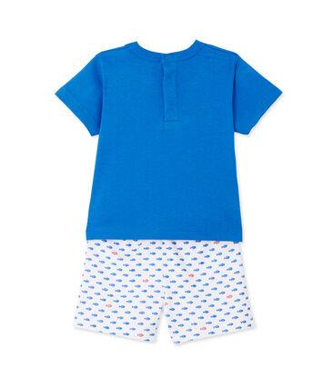 Pigiama corto per bebè bambino stampato bianco Ecume / blu Delphinium