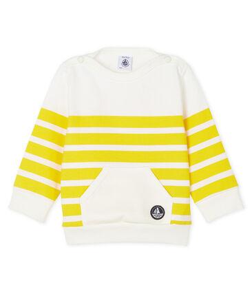 Felpa bebè maschio a righe bianco Marshmallow / giallo Shine