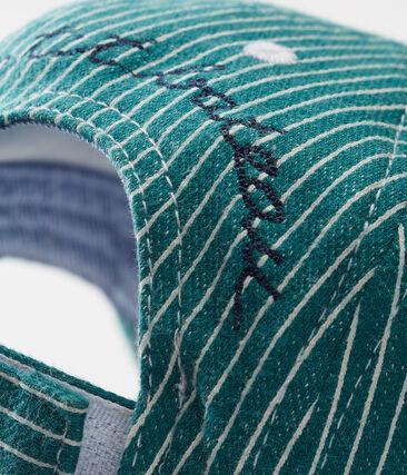 Cappellino da baseball maschietto in maglia a righe verde Olivier / bianco Marshmallow