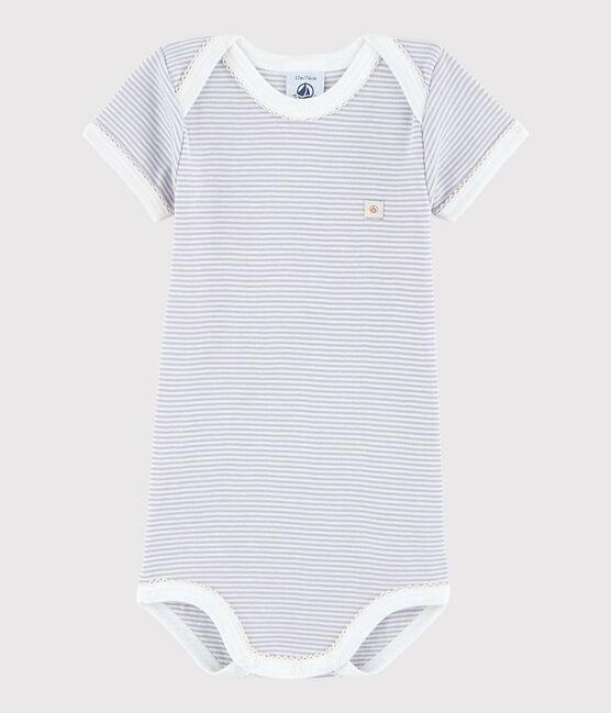 Body manica corta bebè femmina rosa Silene / bianco Marshmallow