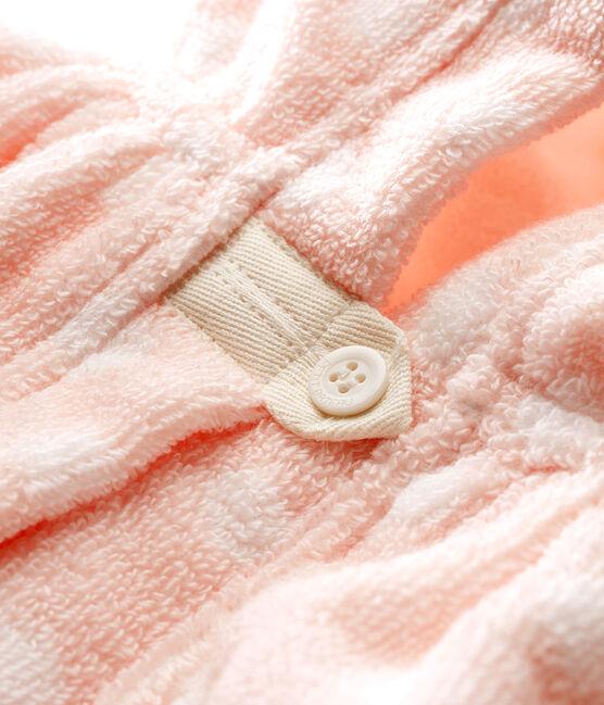 Mantellina da bagno bimba in spugna rosa Minois / bianco Lait