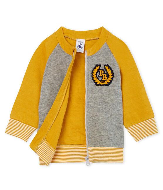 Cardigan zippato bebè maschio in tubique grigio Subway / giallo Boudor
