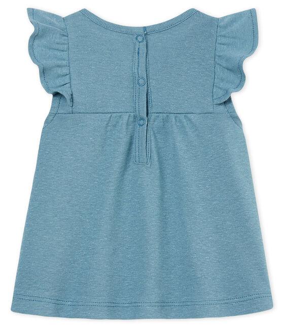 Blusa mc neonata in cotone/lino blu Fontaine