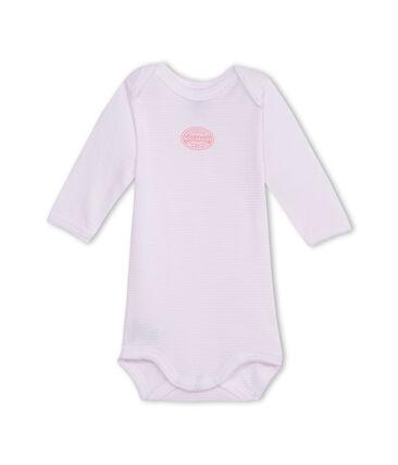 Body bebé bambina maniche lunghe millerighe rosa Vienne / bianco Ecume