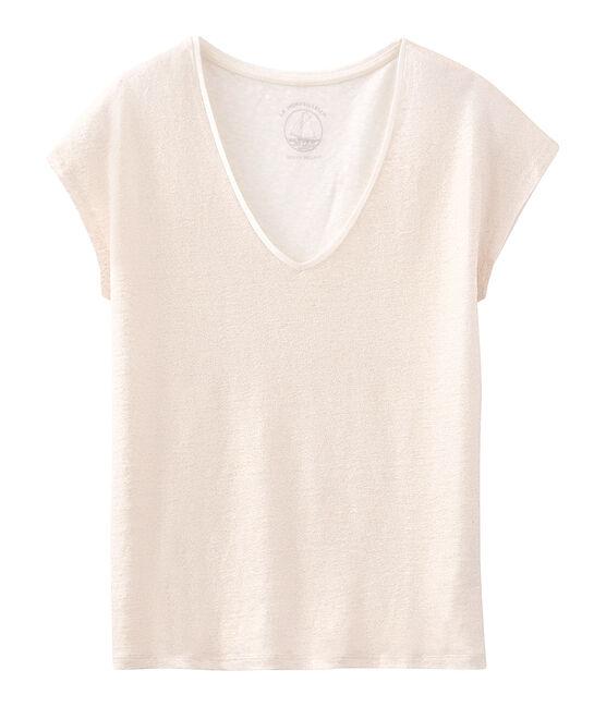 T-shirt maniche corte donna in lino cangiante bianco Marshmallow / rosa Copper