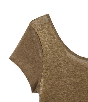 T-shirt donna con scollo ad acquasantiera sul retro in lino iridescente marrone Shitake / giallo Or