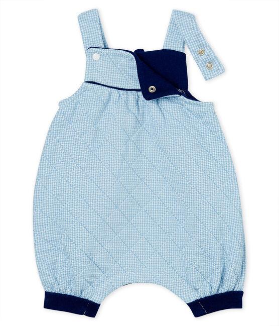 Salopette corta bebè in tubique trapuntato blu Acier / bianco Marshmallow