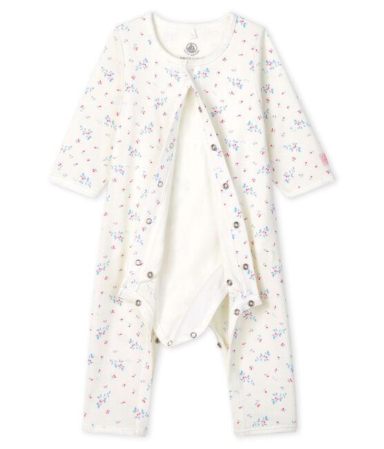 Bodyjama senza piedi bebè a costine bianco Marshmallow / blu Fraicheur