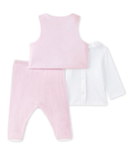 Coordinato 3 pezzi per bebé femmina bianco Ecume / rosa Vienne