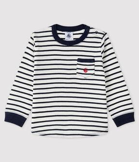 T-shirt bebè maschio bianco Marshmallow / blu Smoking