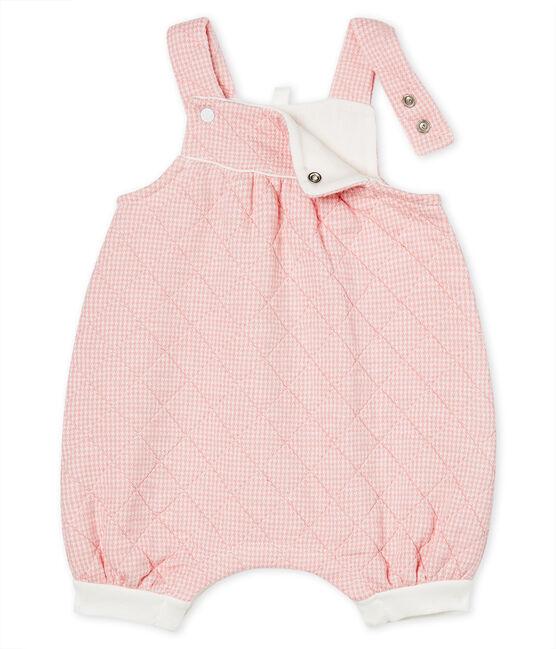 Salopette lunga in tubique trapuntato bebè rosa Charme / bianco Marshmallow Cn