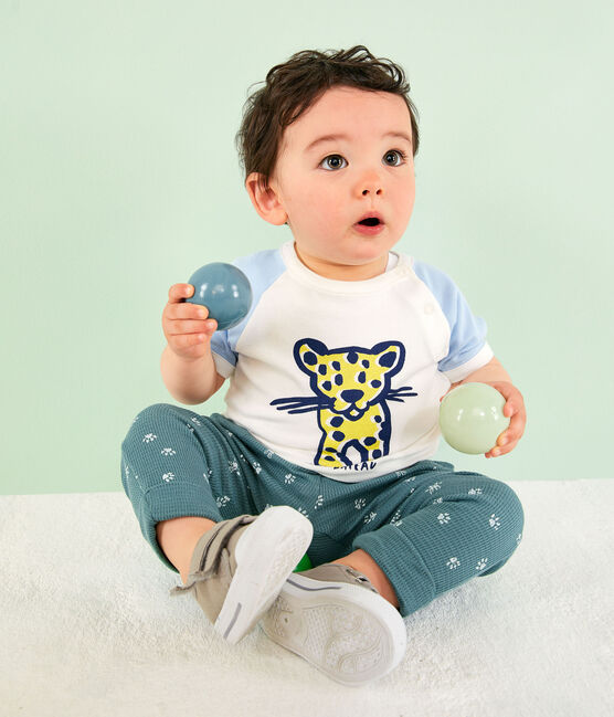 T-shirt maniche corte bebè maschio bianco Marshmallow / blu Jasmin