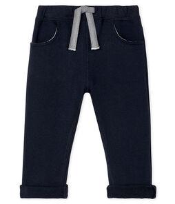 Pantalone bebè maschio in molleton a tinta unita blu Smoking