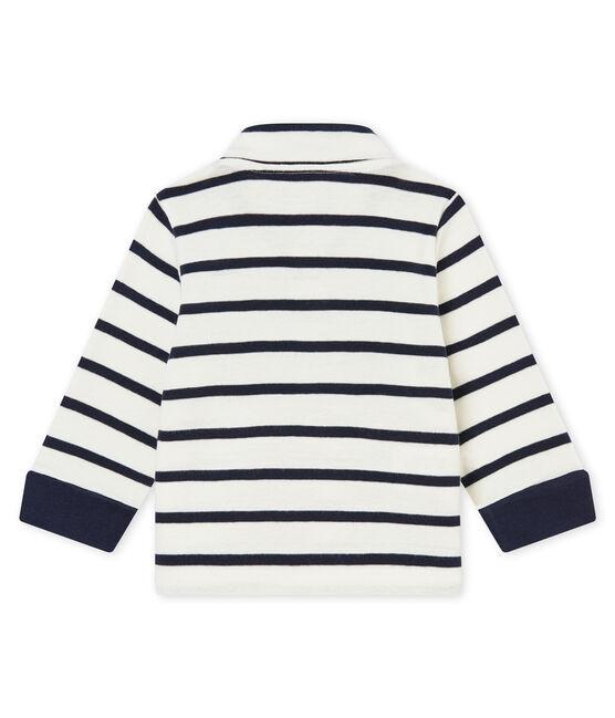 Polo rigata bebé maschio bianco Marshmallow / blu Smoking