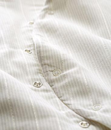 Tuta lunga bebè maschio a righe bianco Marshmallow / beige Perlin