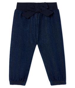 Pantaloni in maglia effetto denim bebè femmina blu Jean