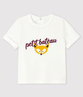 T-shirt bebè maschio bianco Marshmallow