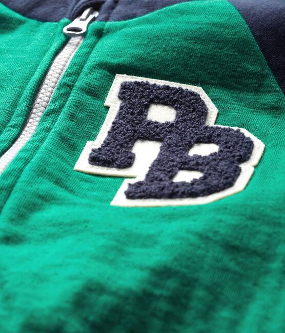 Cardigan zippato bebè maschio in tubique verde Ecology / blu Smoking