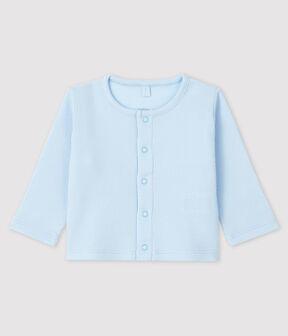 Cardigan bebè in costina 2x2 di cotone biologico blu Fraicheur
