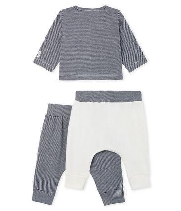 Completo tre pezzi bebè maschio a costine bianco Marshmallow / blu Smoking