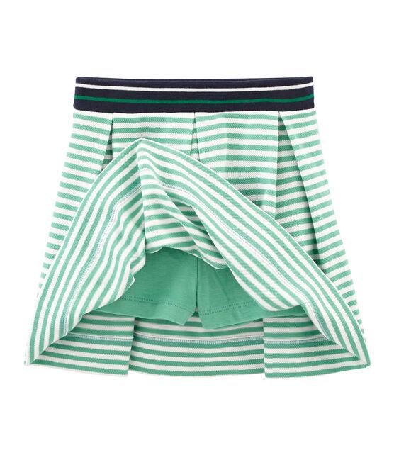 Gonna pantaloncino bambina verde Aloevera / bianco Marshmallow