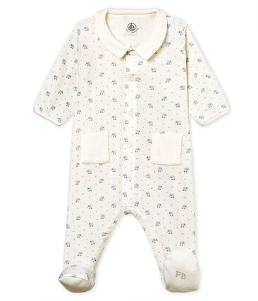 Tutina pigiama bebè maschietto a costina 1x1 fantasia bianco Marshmallow / bianco Multico