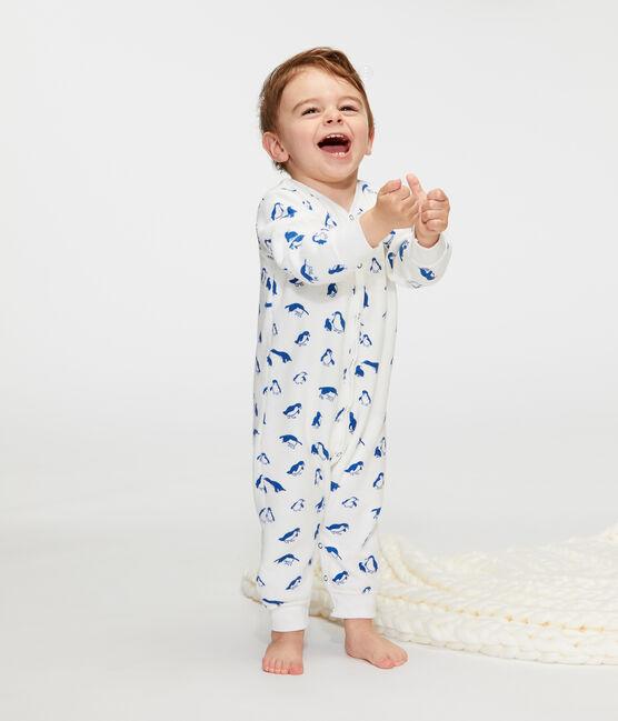 Completo notte bebè in spugna bouclette grattata super calda bianco Marshmallow / blu Major