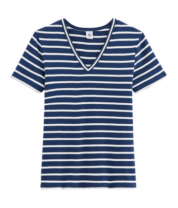 T-shirt iconica donna blu Medieval / bianco Marshmallow