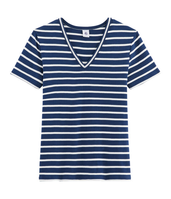 T-shirt iconica donna blu Medieval / bianco Marshmallow