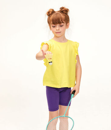 Legging bambina viola Real / giallo Or