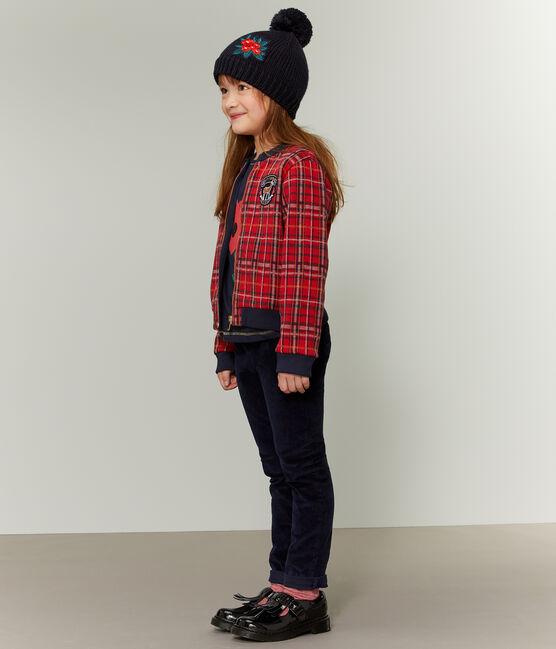 Teddy in maglia tartan bambina rosso Terkuit / bianco Multico