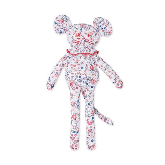 Doudou bébé souris imprimé bianco Ecume / rosa Gretel